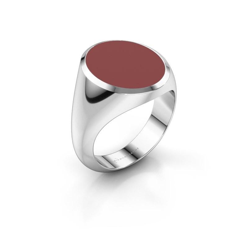 Signet ring Herman 6 375 white gold red enamel 16x13 mm