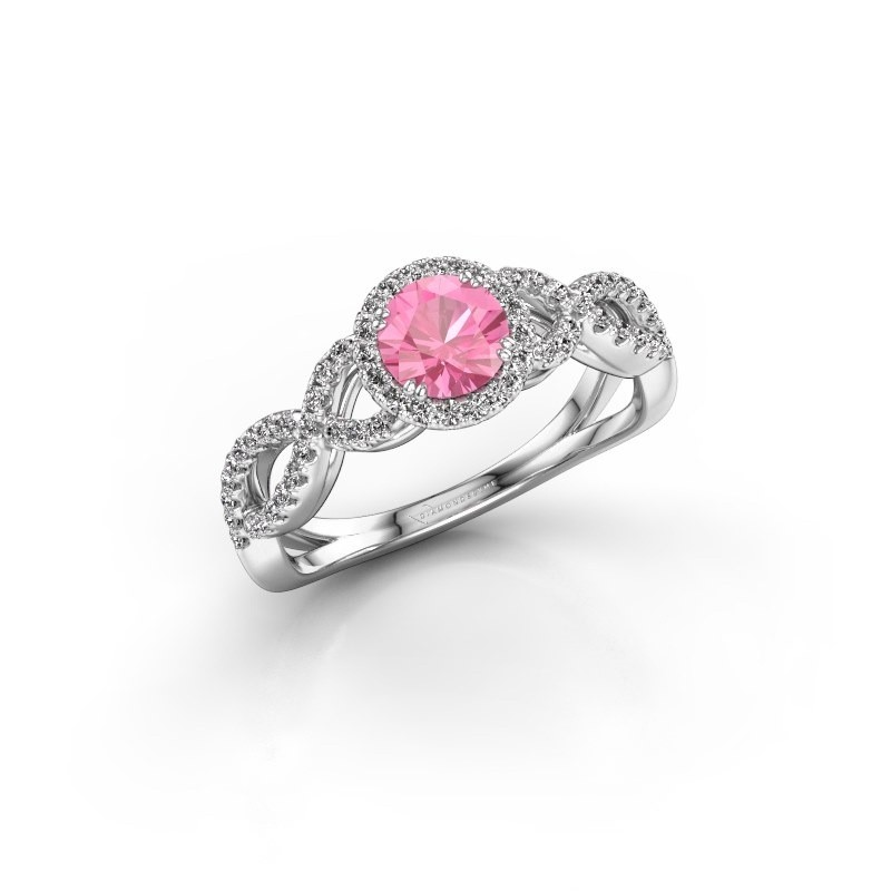 Engagement ring Dionne rnd 925 silver pink sapphire 5 mm