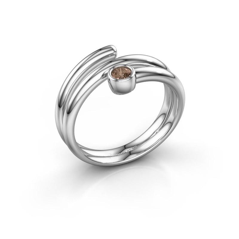 Ring Jenna 950 platina bruine diamant 0.10 crt