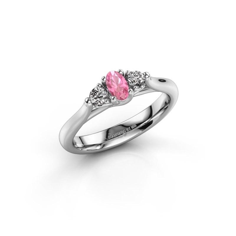 Verlovingsring Jente OVL 585 witgoud roze saffier 5x3 mm