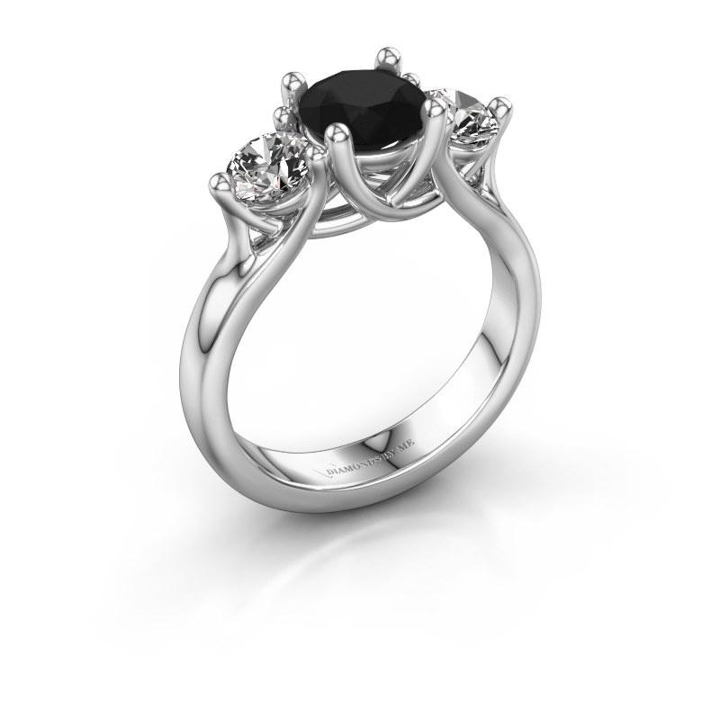 Engagement ring Esila 925 silver black diamond 2.00 crt