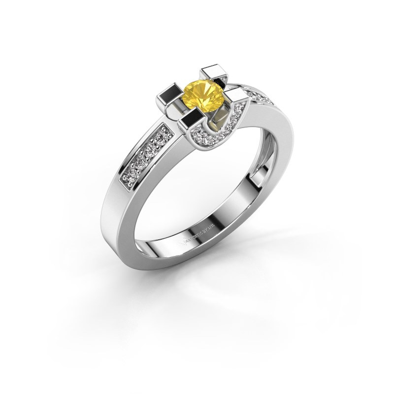 Verlovingsring Jasmijn 2 585 witgoud gele saffier 4 mm