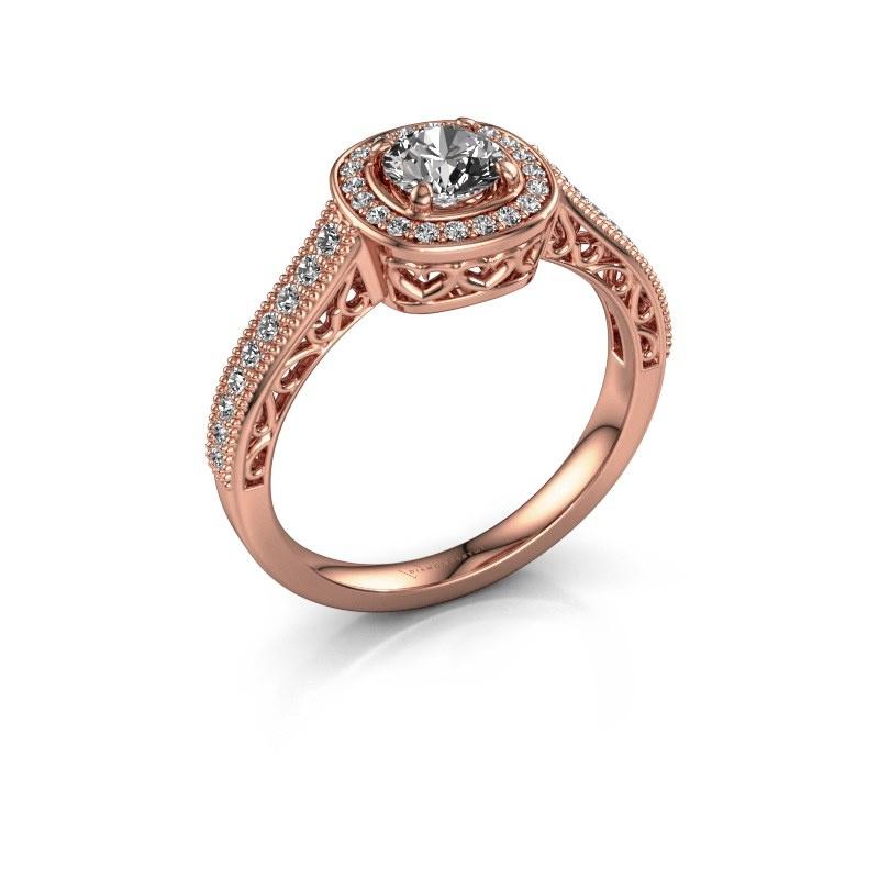 Bague de fiançailles Candi 375 or rose diamant synthétique 0.775 crt
