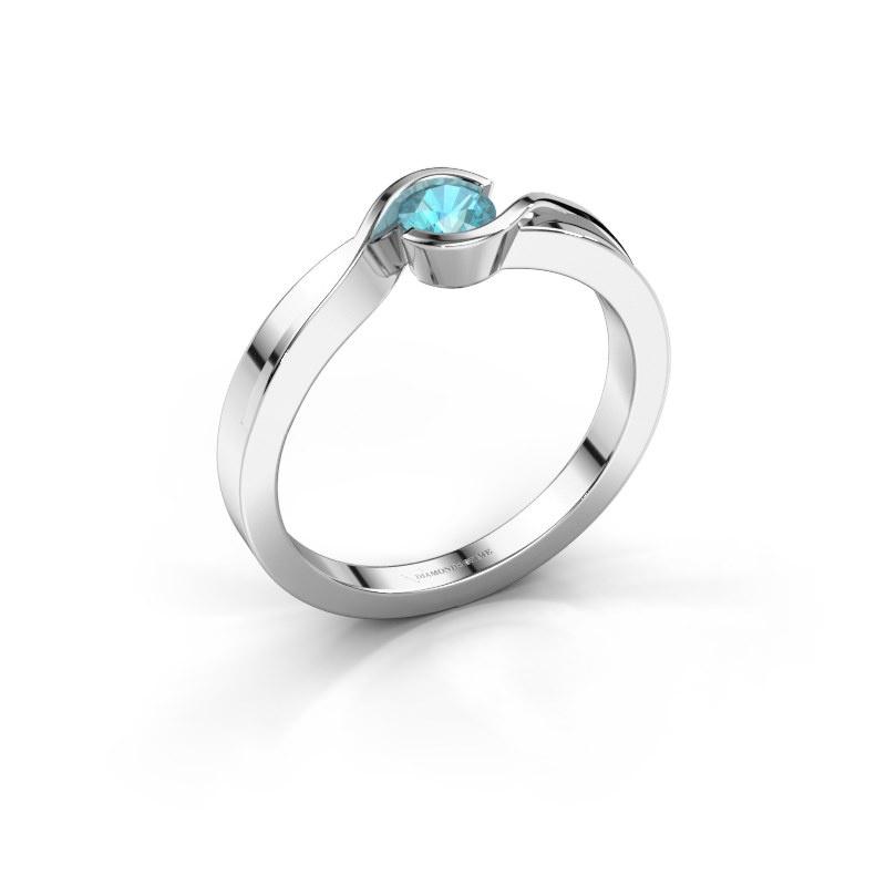 Ring Lola 585 white gold blue topaz 4 mm