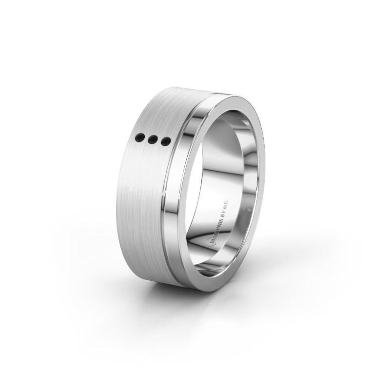 Trouwring WH0325L17APM 925 zilver zwarte diamant ±7x1.7 mm