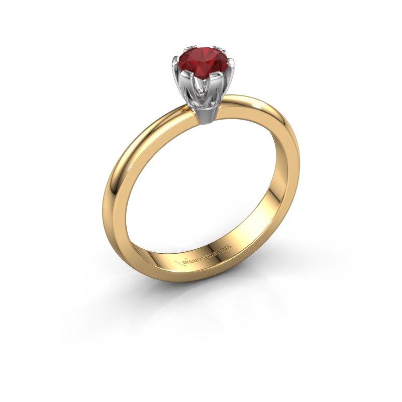 Verlovingsring Julia 585 goud robijn 4 mm