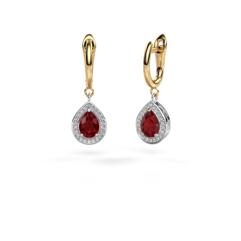 Drop earrings Ginger 1 585 white gold ruby 7x5 mm
