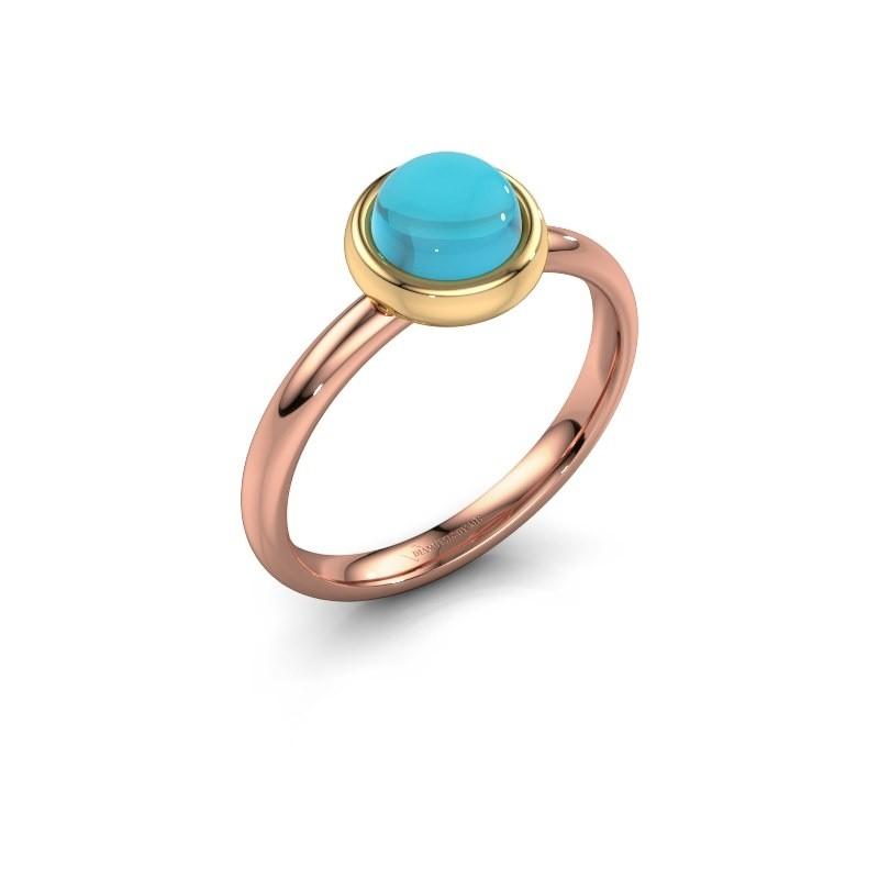 Ring Blossom 585 rosé goud blauw topaas 6 mm