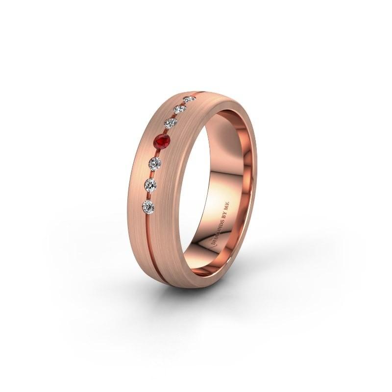Trouwring WH0162L25A 375 rosé goud robijn ±5,5x1.7 mm