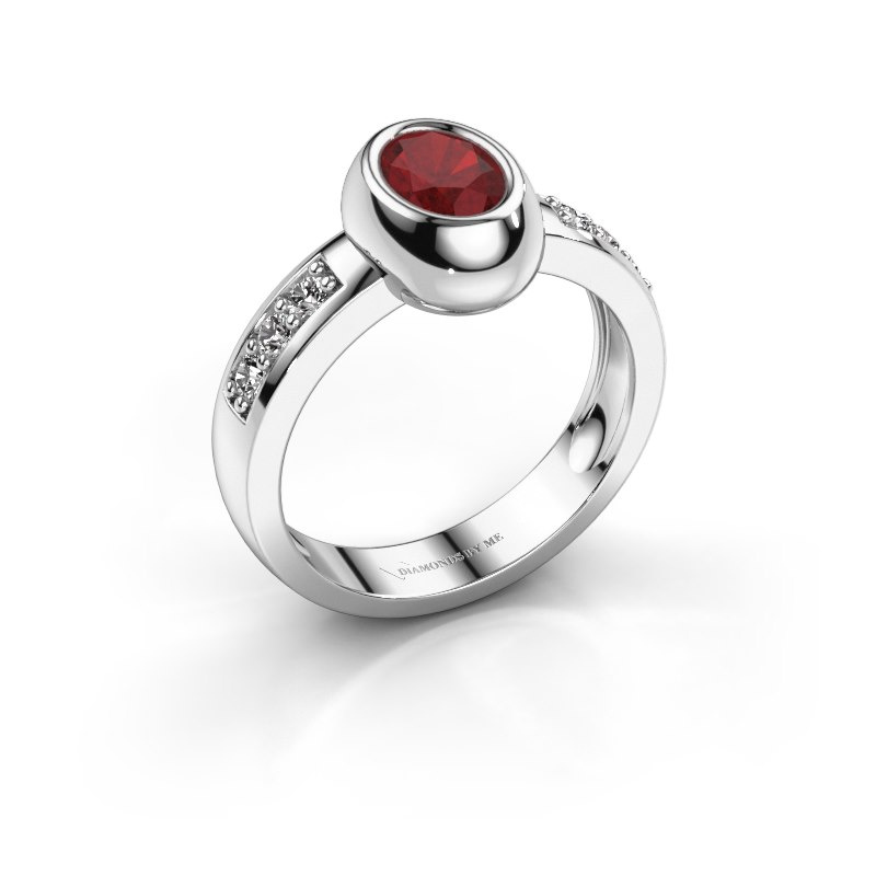 Ring Charlotte Oval 925 silver ruby 7x5 mm