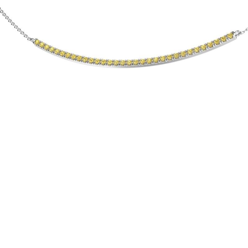 Bar ketting Simona 925 zilver gele saffier 1.5 mm