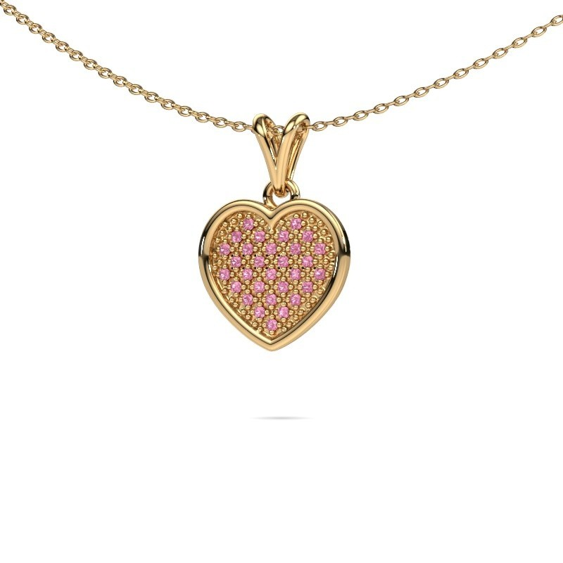 Halsketting Aline 375 goud roze saffier 1 mm