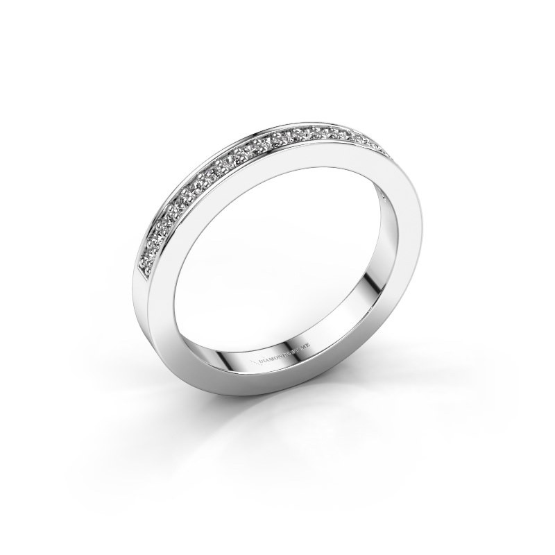 Stackable ring Loes 4 585 white gold diamond 0.18 crt
