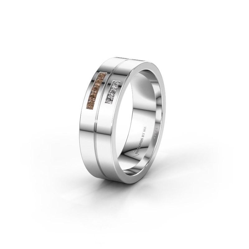 Wedding ring WH0207L16AP 925 silver brown diamond ±0.24x0.07 in