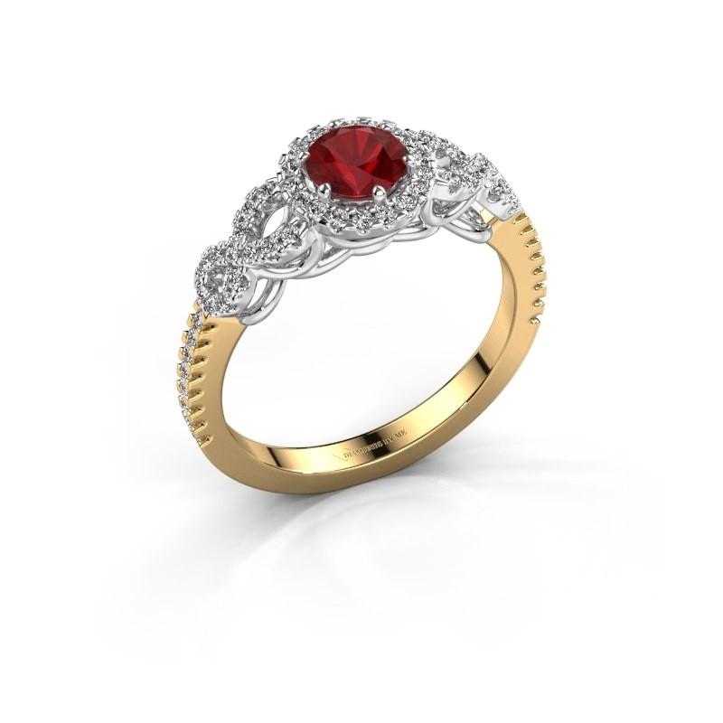 Verlovingsring Sasja 585 goud robijn 5 mm