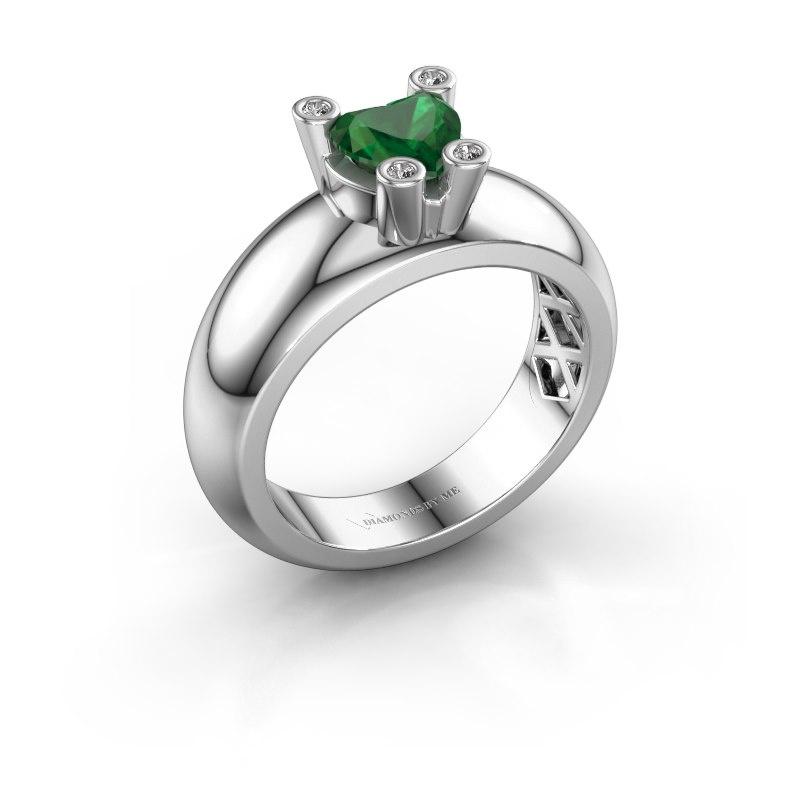 Ring Cornelia Heart 925 silver emerald 6 mm