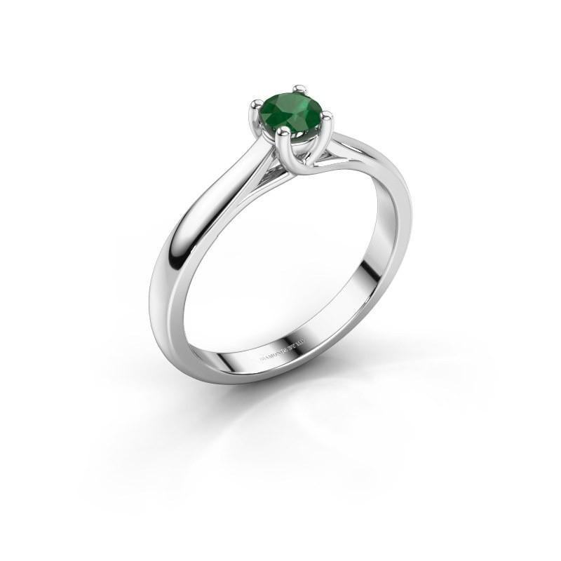 Verlovingsring Mia 1 585 witgoud smaragd 4 mm