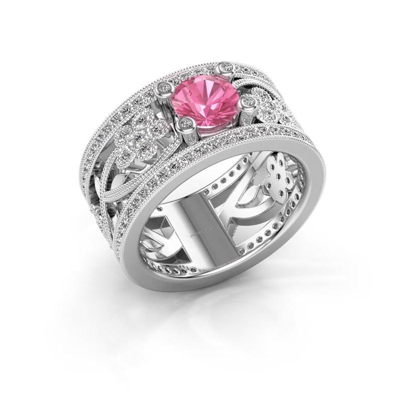 Ring Severine 950 platina roze saffier 6 mm