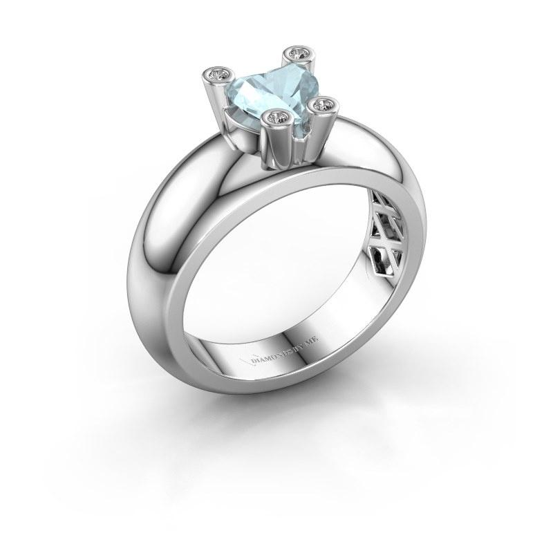 Ring Cornelia Heart 925 silver aquamarine 6 mm