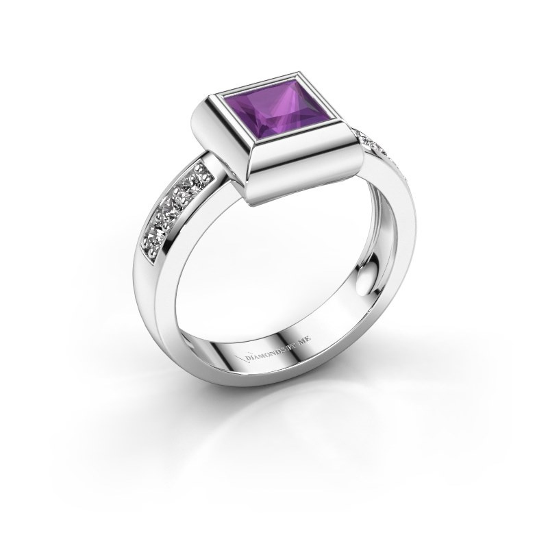 Ring Charlotte Square 585 white gold amethyst 5 mm