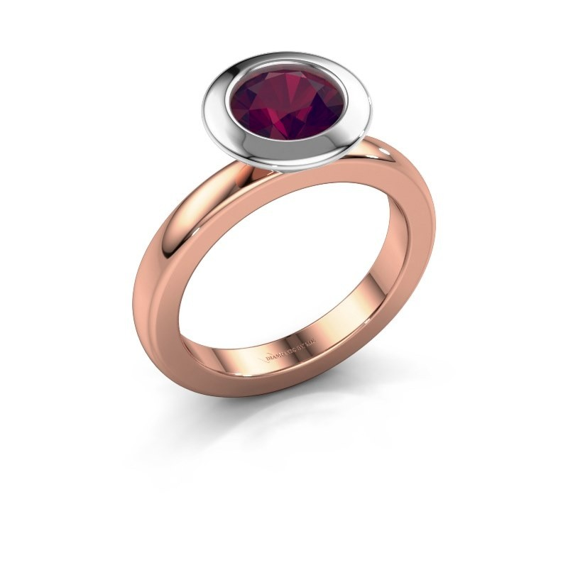 Stacking ring Trudy Round 585 rose gold rhodolite 7 mm