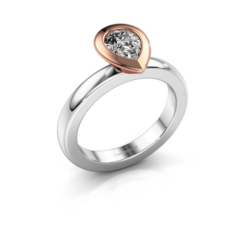 Stapelring Trudy Pear 585 witgoud diamant 0.65 crt