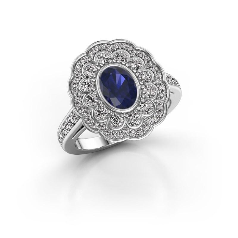 Ring Jocelyn 585 witgoud saffier 7x5 mm