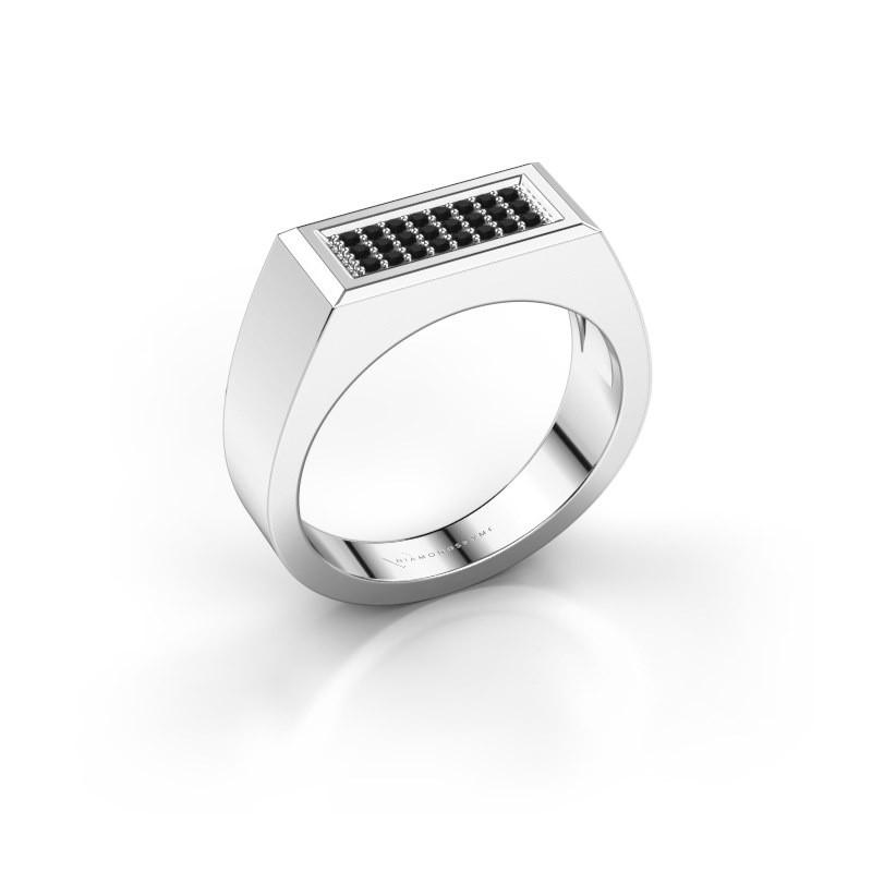 Men's ring Dree 6 585 white gold black diamond 0.192 crt