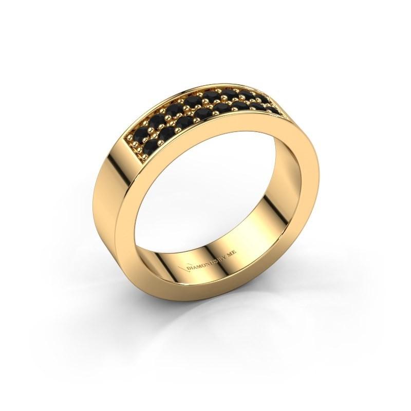 Stackable ring Catharina 5 375 gold black diamond 0.384 crt