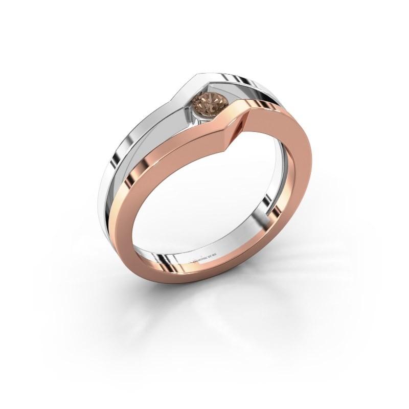 Bague Elize 585 or rose diamant brun 0.15 crt