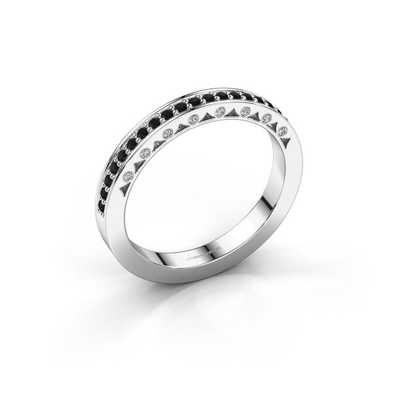 Ring Yasmine 585 witgoud zwarte diamant 0.278 crt