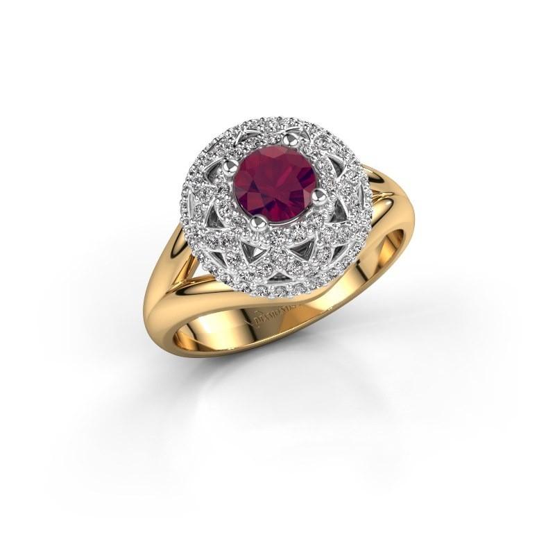 Ring Leonora 585 goud rhodoliet 5 mm