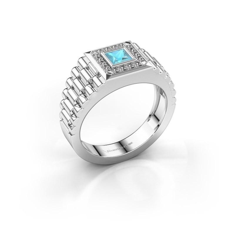 Heren ring Zilan 585 witgoud blauw topaas 4 mm