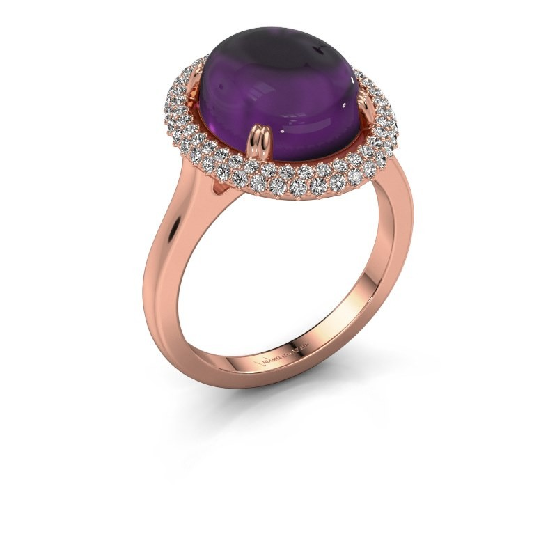 Ring Jayna 375 rose gold amethyst 12x10 mm