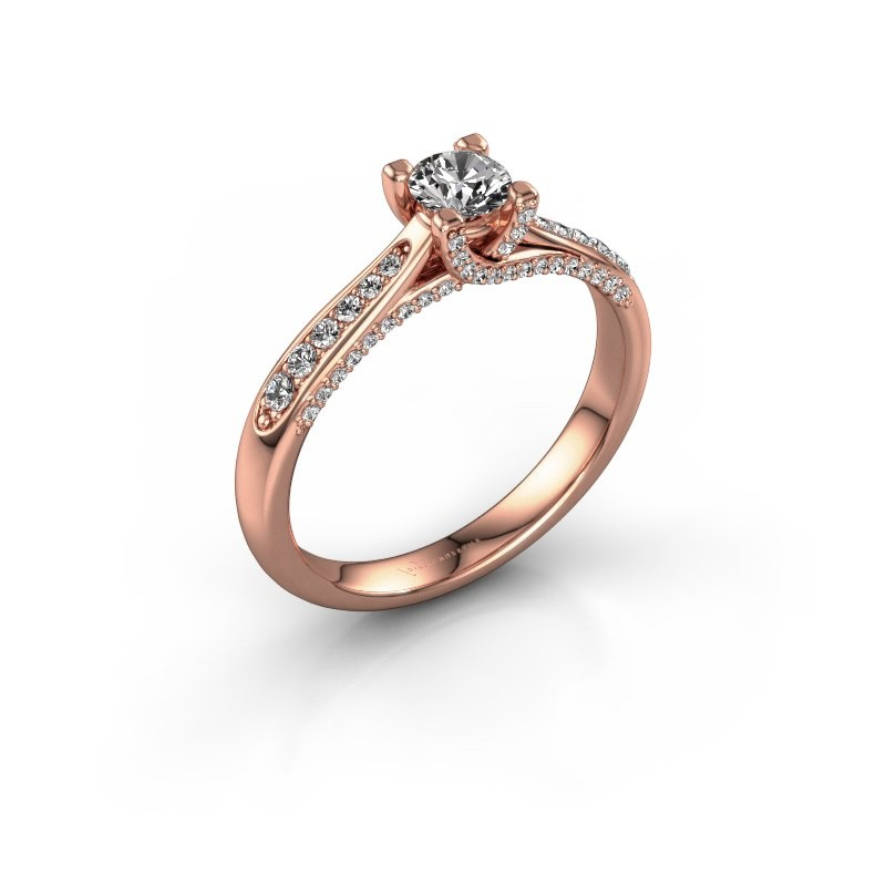 Verlovingsring Mia 3 375 rosé goud diamant 0.548 crt