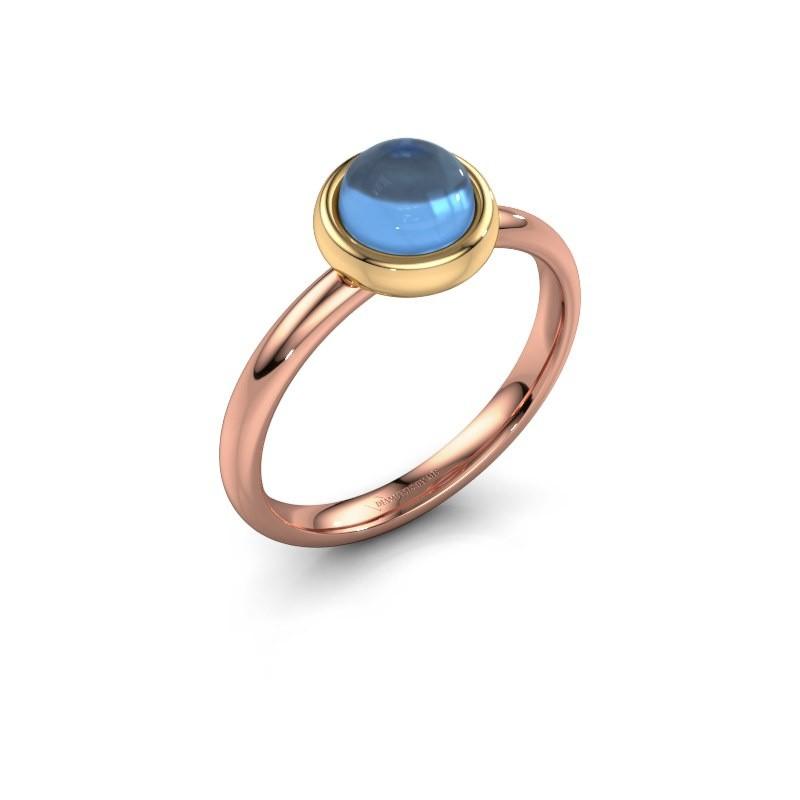 Ring Blossom 585 rose gold blue topaz 6 mm