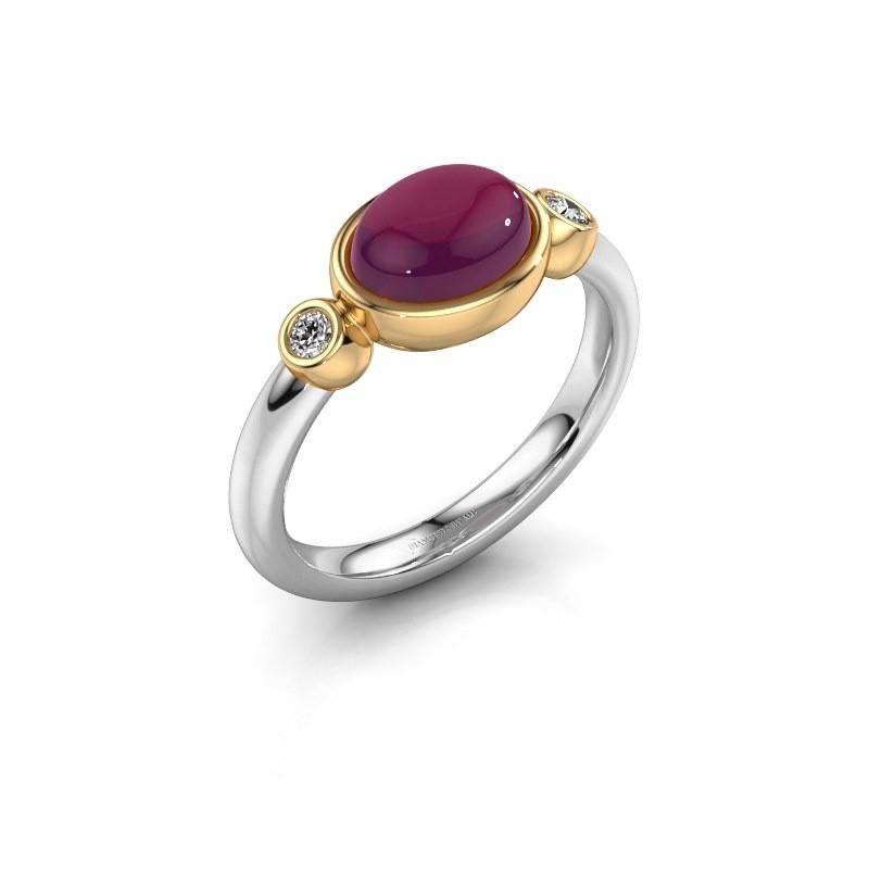 Ring Liane 585 witgoud rhodoliet 8x6 mm