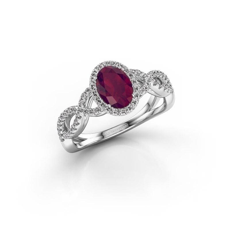 Engagement ring Dionne ovl 585 white gold rhodolite 7x5 mm