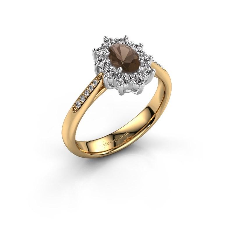 Verlovingsring Leesa 2 585 goud rookkwarts 6x4 mm