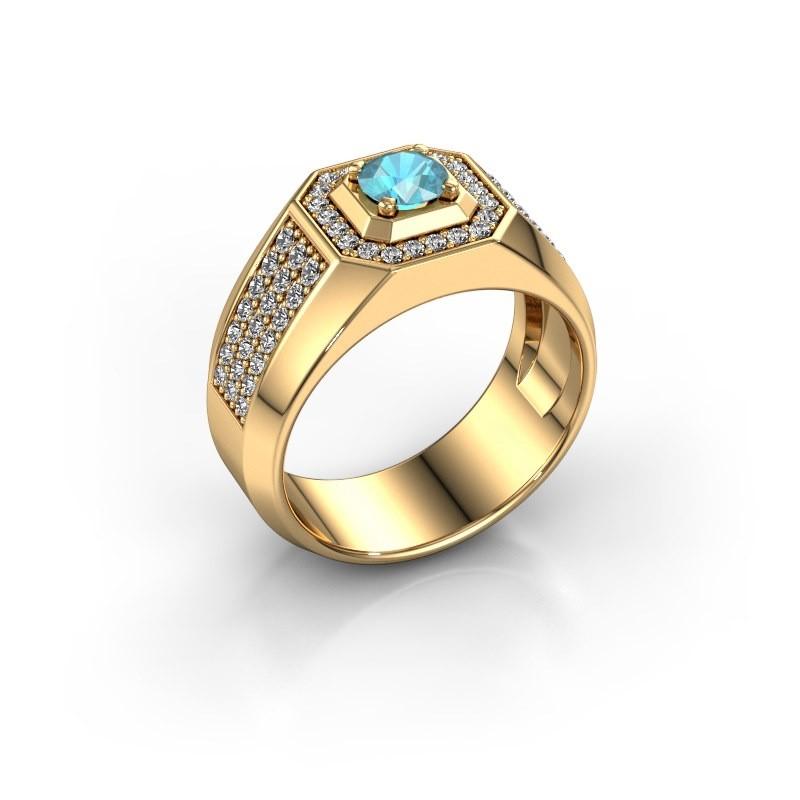 Heren ring Pavan 375 goud blauw topaas 5 mm