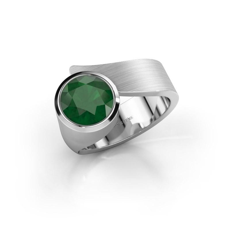 Ring Nakia 375 witgoud smaragd 8 mm