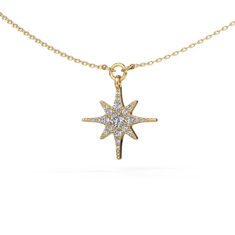 Halsketting Star 585 goud zirkonia 3 mm