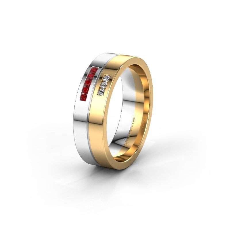 Wedding ring WH0207L16AP 585 white gold ruby ±0.24x0.07 in