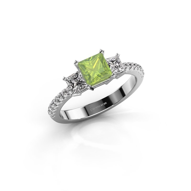 Engagement ring Dorla 585 white gold peridot 5 mm