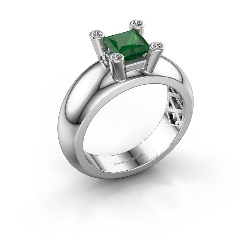 Ring Cornelia Square 925 silver emerald 5 mm