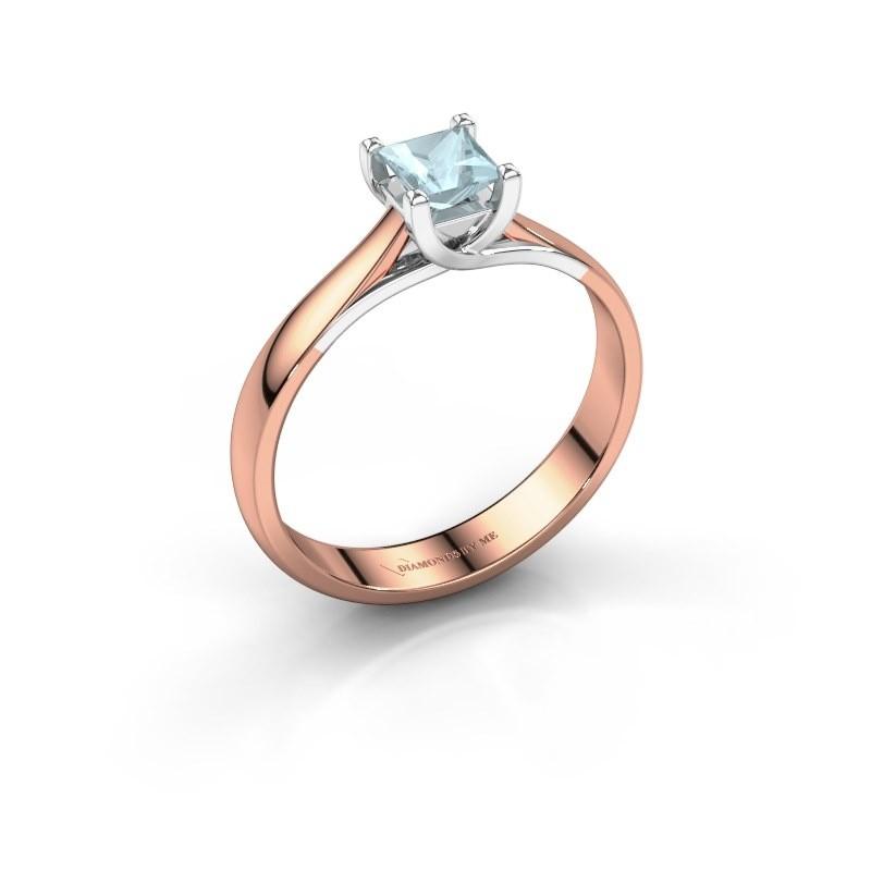 Engagement ring Mia Square 585 rose gold aquamarine 4 mm