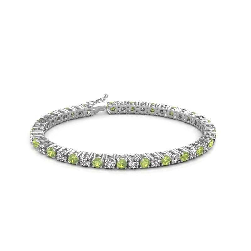Tennis bracelet Karin 375 white gold peridot 4 mm