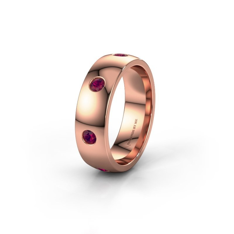 Wedding ring WH0105L26BP 375 rose gold rhodolite ±6x2 mm