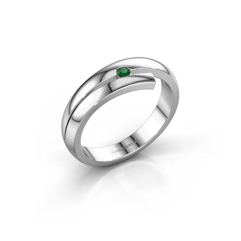 Ring Shela 585 witgoud smaragd 2.2 mm