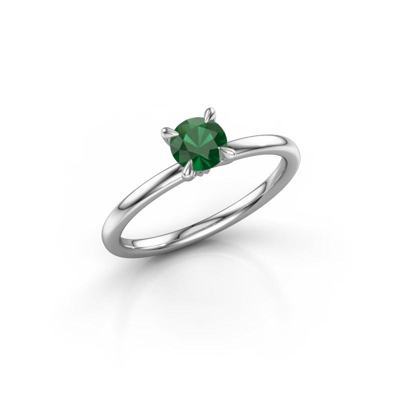 Verlovingsring Crystal RND 1 585 witgoud smaragd 5 mm
